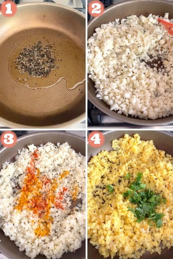mustard seeds in skillet, sauteing cauliflower rice, spices in cauliflower rice, prepared cauliflower rice
