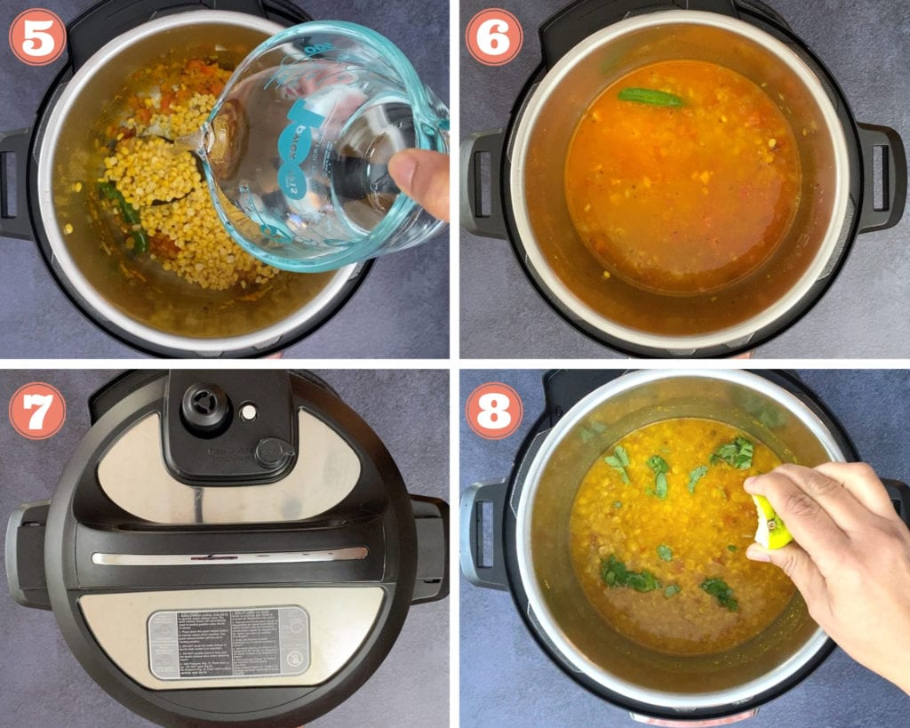 pouring water into instant pot, chana dal in instant pot, instant pot lid, squeezing lime over chana dal