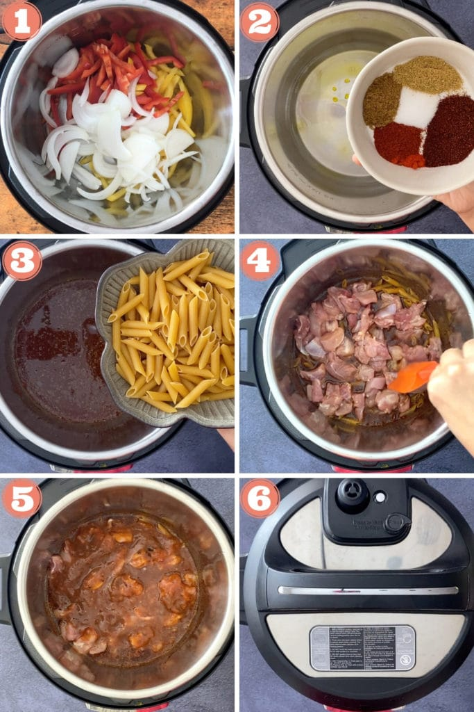 peppers and onions in instant pot, small bowl of spices, pouring pasta in instant pot, adding chicken and salsa, instant pot lid