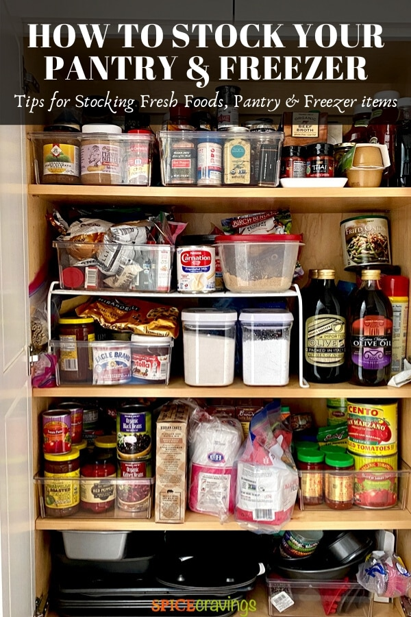 Oil, sugar, flour, beans, tomatoes, applesauce stored in a pantry
