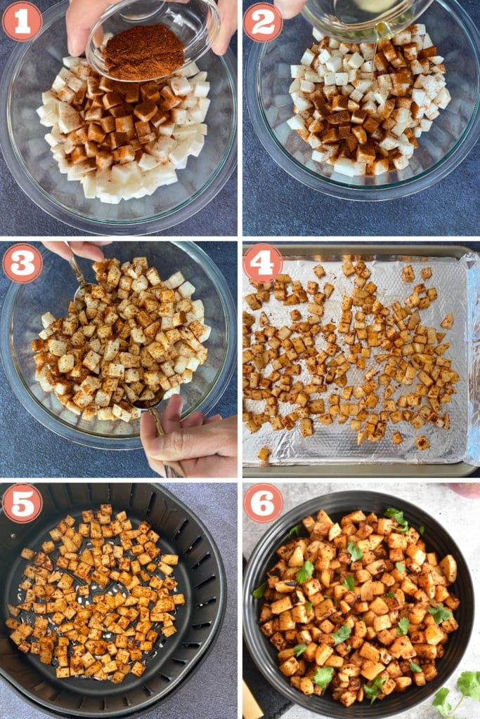 spices pouring onto diced turnips, oil pouring on diced turnips, tossing seasoned turnips, turnips on baking sheet and in air fryer, harissa roasted turnips in black bowl