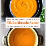 tikka masala sauce in gray bowl on navy blue plate, tikka masala sauce in instant pot