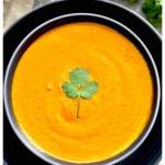 tikka masala sauce with cilantro garnish in gray bowl on navy blue plate