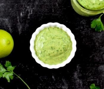 creamy salad dressing recipe in small white bowl