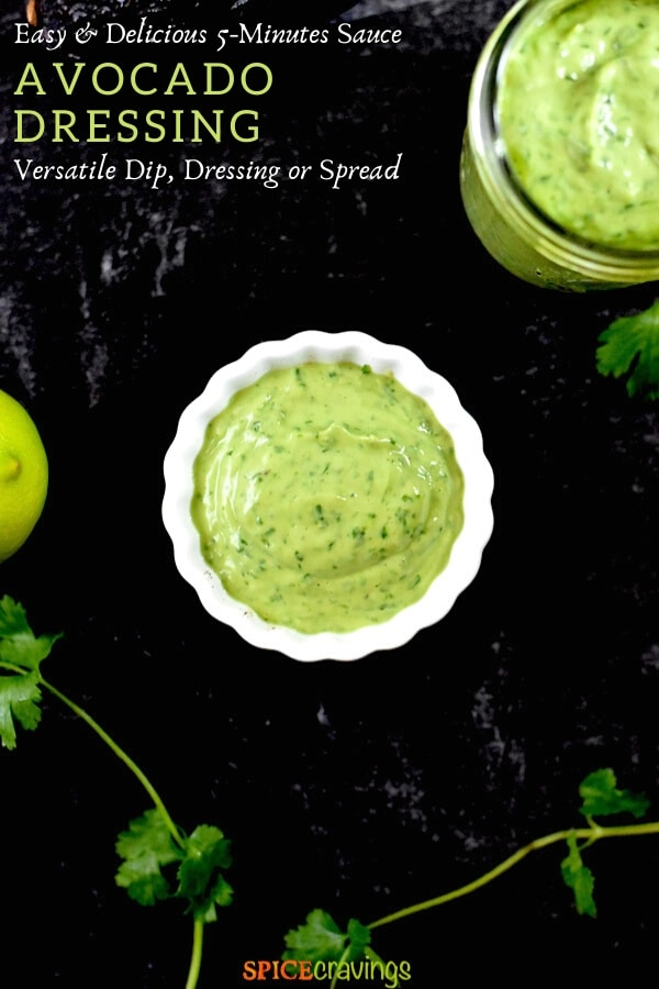 cilantro lime salad dressing in white bowl