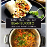 bean burrito on black plate and rice and bean filling in instant pot