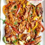 chicken fajitas and vegetables pinterest graphic