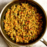 Indian scrambled eggs called egg bhurji recipe in non-stick skillet