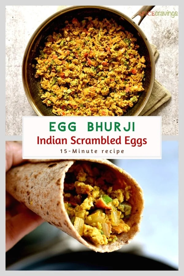 Indian scrambled eggs in skillet and wrap
