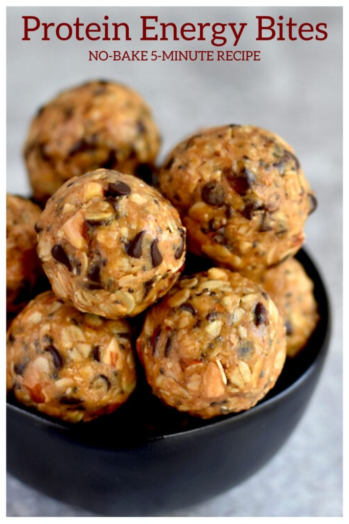 healthy energy bites with peanut butter and chocolate chips in black bowl
