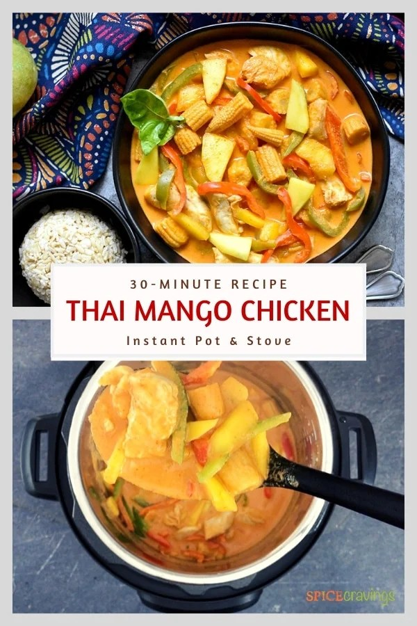 thai mango chicken curry in black bowl and instant pot