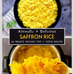 saffron rice in black bowl and forkful of saffron rice over instant pot