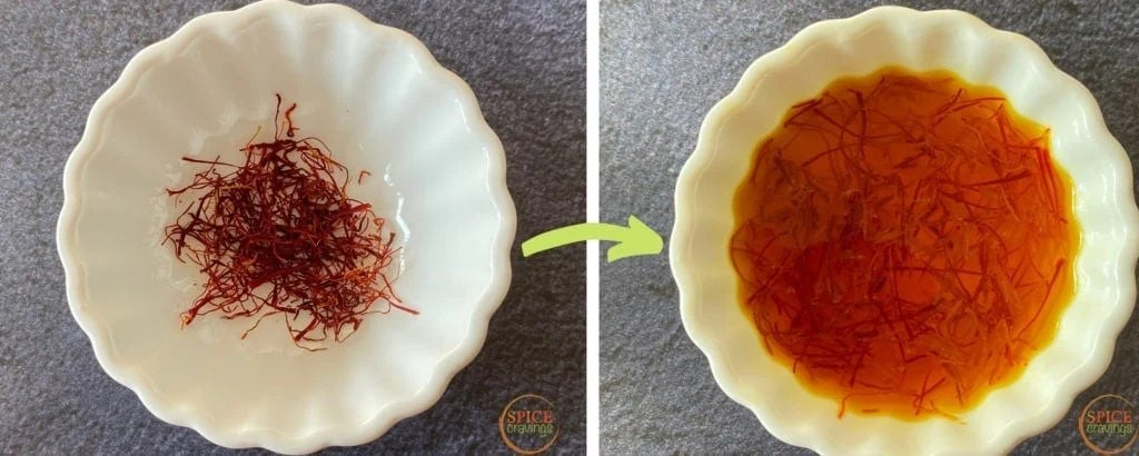 saffron threads in white bowl, soaking saffron in water in white bowl