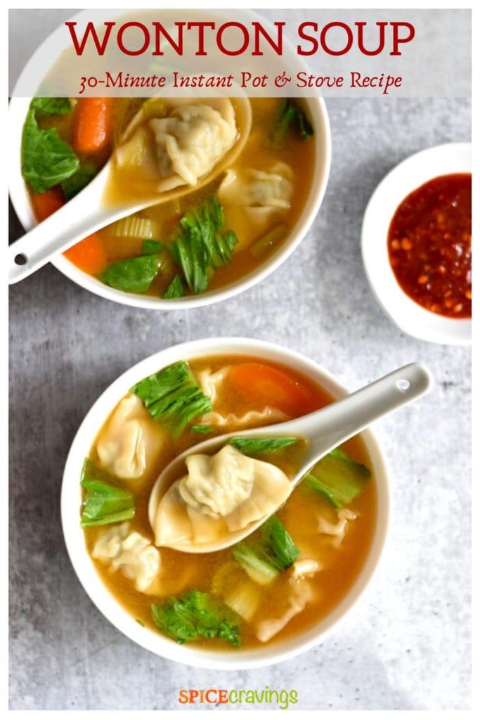 Two bowls of chicken dumpling soup