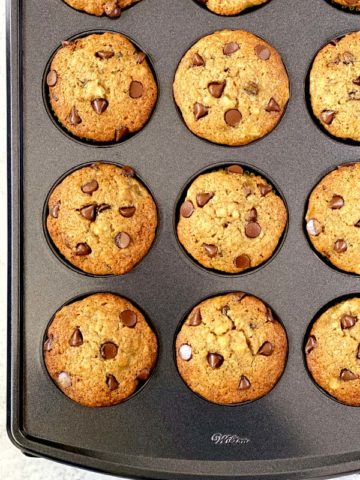 easy banana muffins with chocolate chips in muffin tin