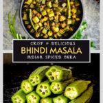 bhindi masala recipe in black bowl, fresh okra with stems removed
