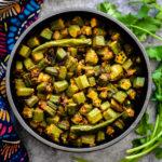 oven baked bhindi masala recipe in black bowl
