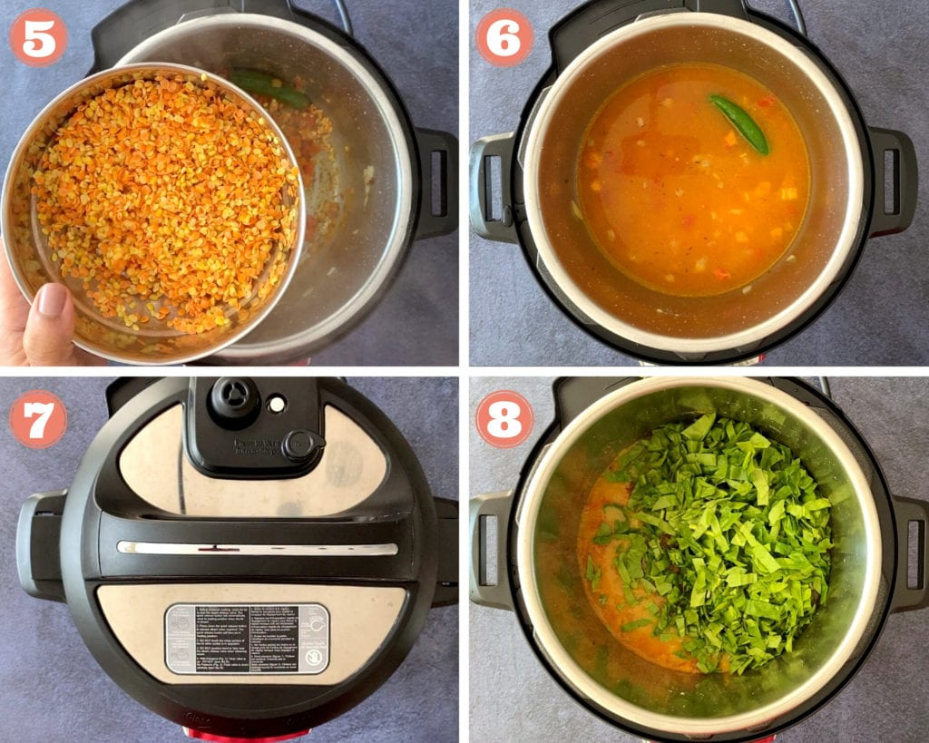 pouring lentils into instant pot, dal in instant pot, sliced spinach over dal