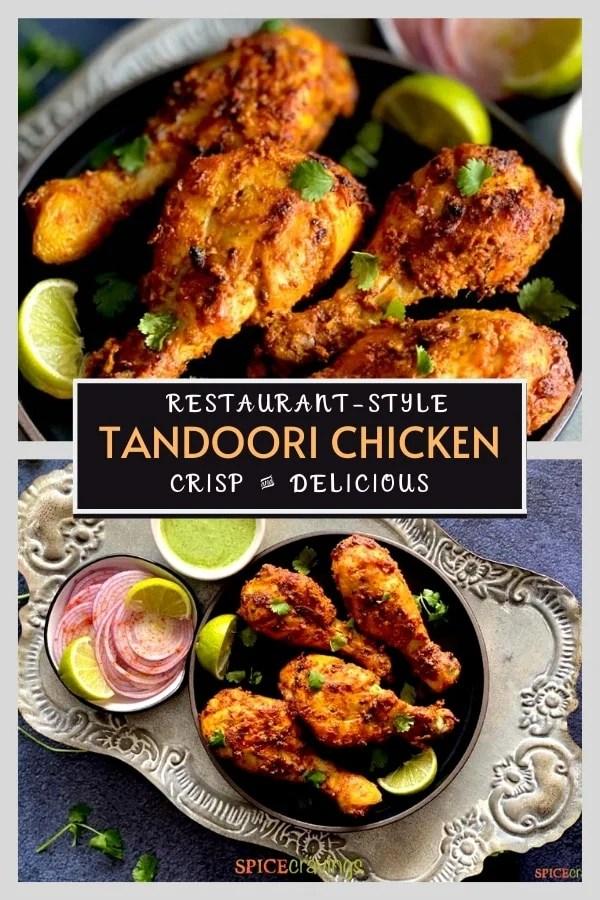 tandoori chicken legs on black plate pinterest graphic