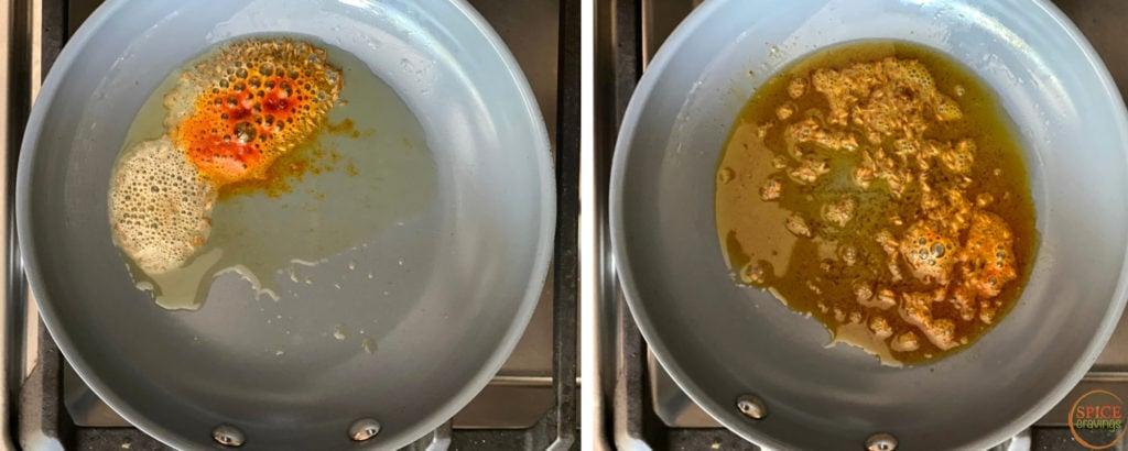 ghee, chili, whole spices in ceramin skillet