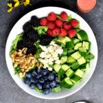 arugula salad with strawberry vinaigrette pinterest graphic