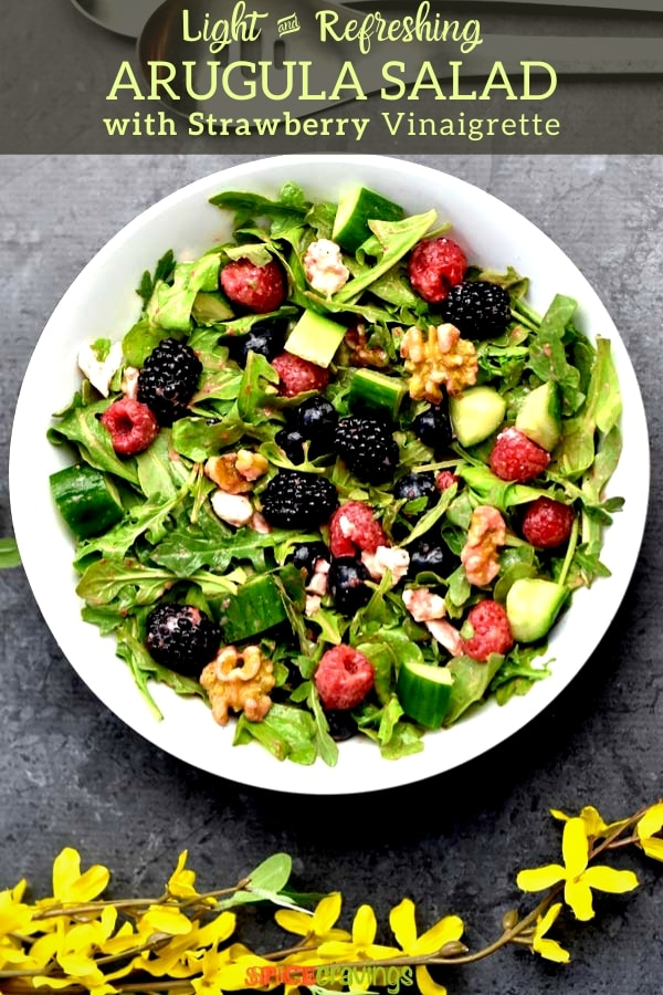arugula salad with strawberry vinaigrette pinterest graphic