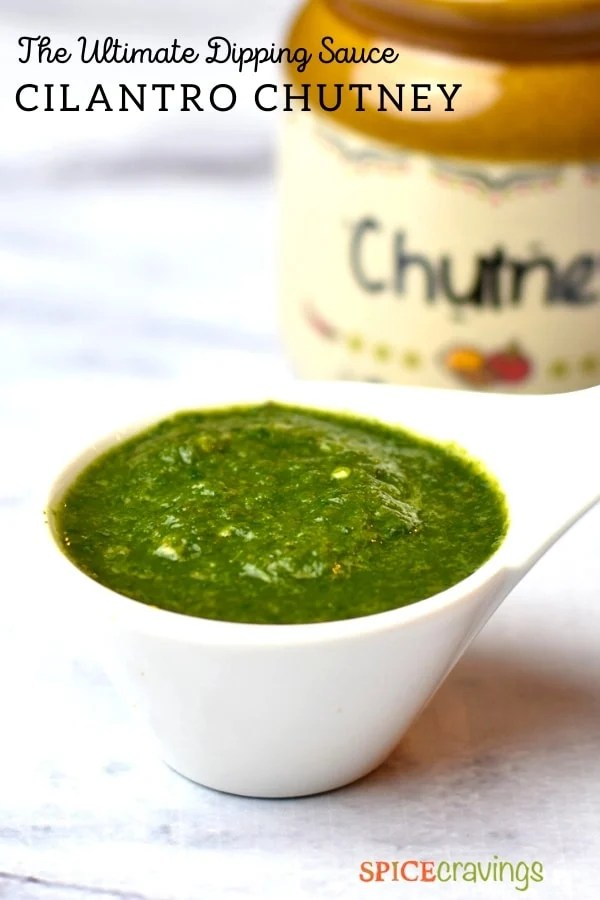 white bowl with green cilantro chutney