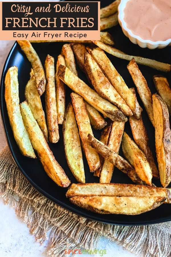 homemade french fries in air fryer pinterest graphic