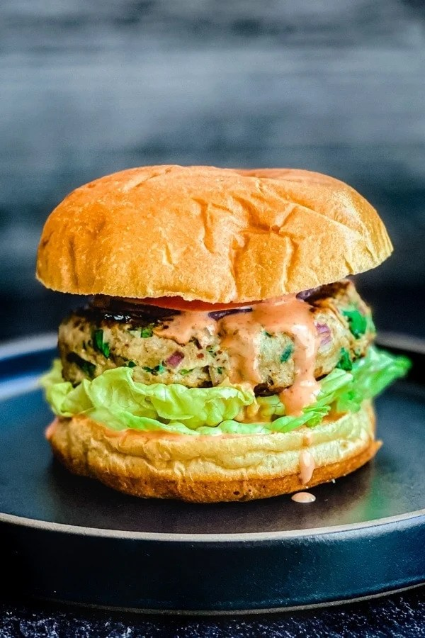 indian spiced chicken burger with lettuce, tomato, sriracha mayo on bun on black plate