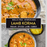 Two images of Lamb korma- close up at the top, and placed next to yellow rice at the bottom