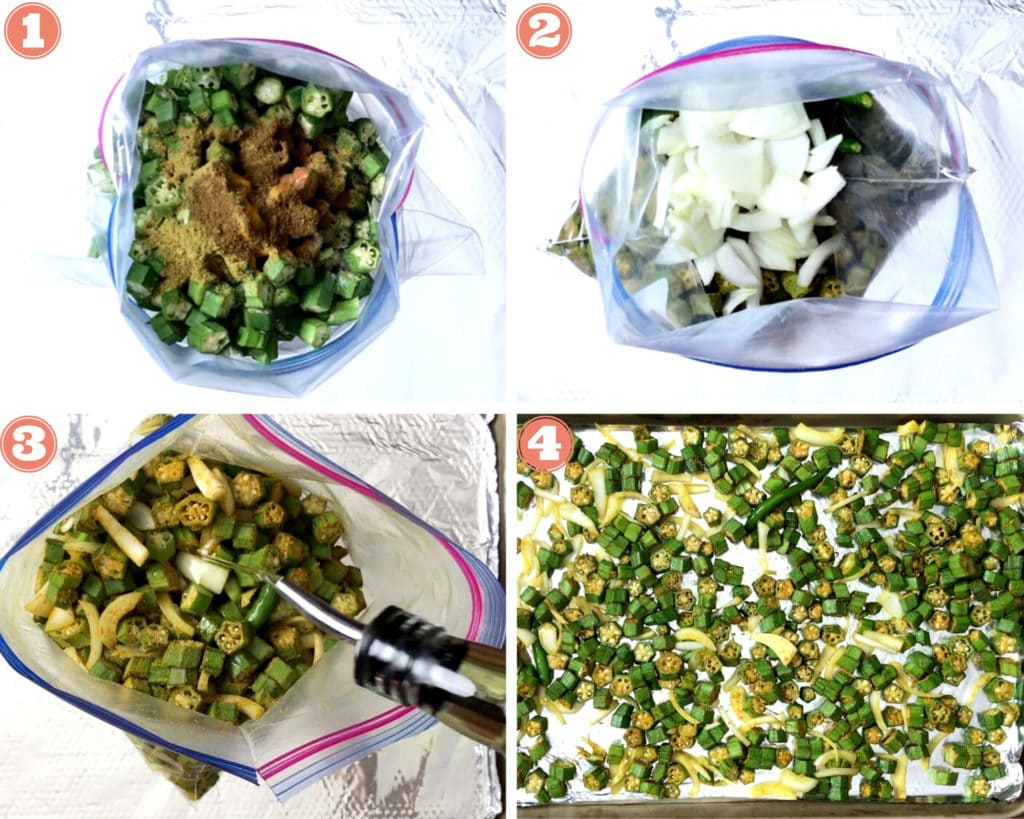 chopped okra and spices in plastic bag with onions, adding oil to spiced bhindi, prepared bhindi on baking sheet