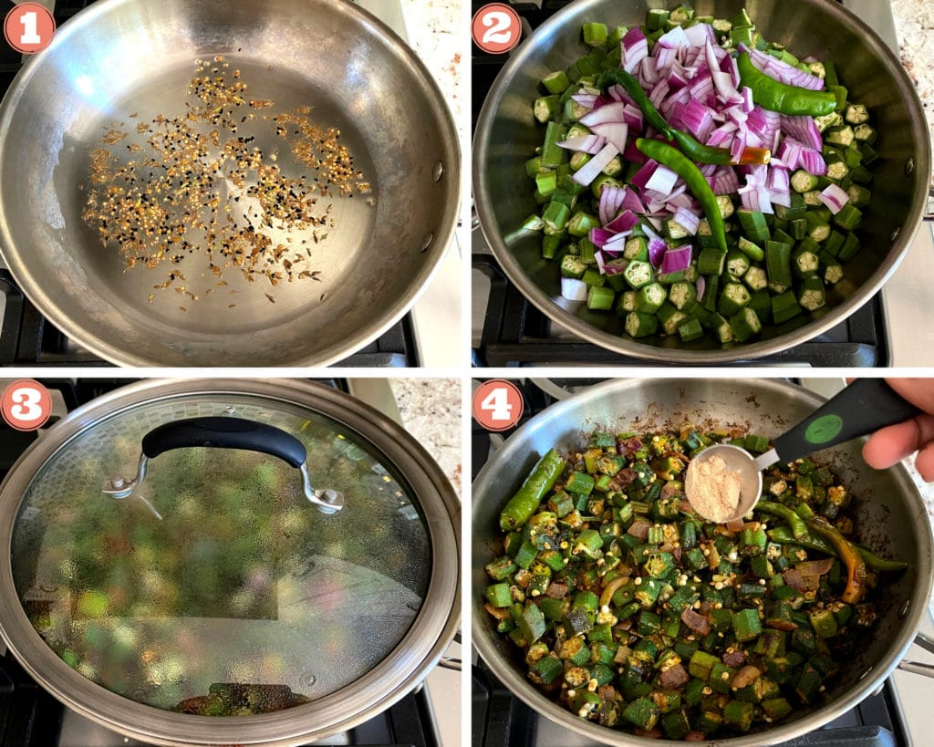 cumin seeds in stainless steel skillet, okra and chopped onions in skillet with glass lid, sprinkling amchur powder over bhindi masala