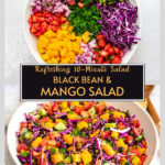 diced vegetables in white bowl, tossed black bean mango salad in white bowl