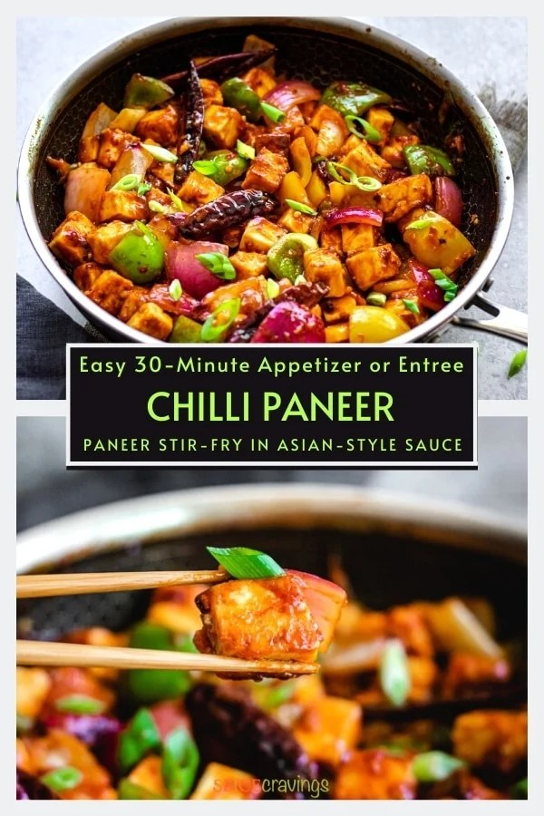 chilli paneer in nonstick skillet and two chopsticks holding crispy paneer