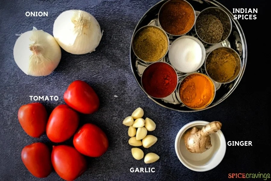 Ingredients needed for making curry sauce