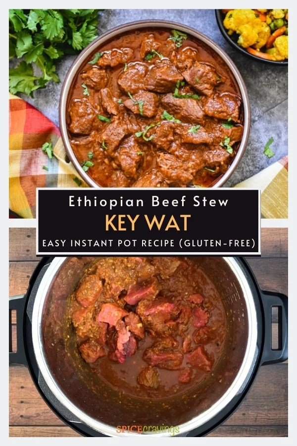 ethiopian beef stew in brown bowl and cooking in instant pot