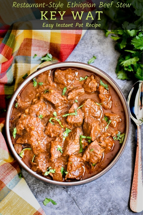 Ethiopian style beef stew garnished with cilantro