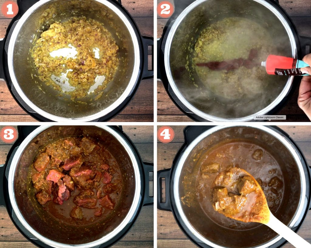 sauteeing aromatic in instant pot, adding tomato past and water, beef cubes in instant pot, spoonful of key wat over instant pot
