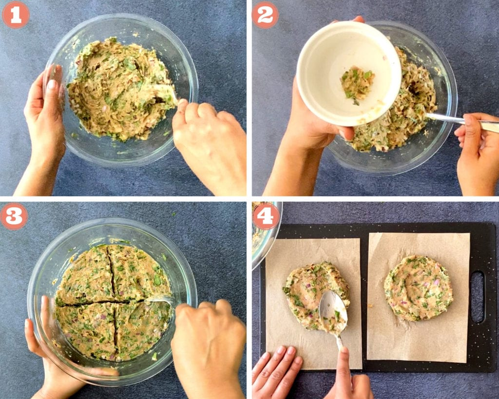 Steps showing scoring and making chicken patties on parchment paper