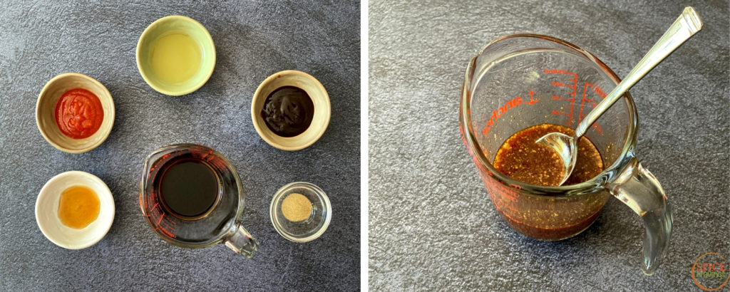soy sauce and spices, Asian sauce in measuring cup with spoon