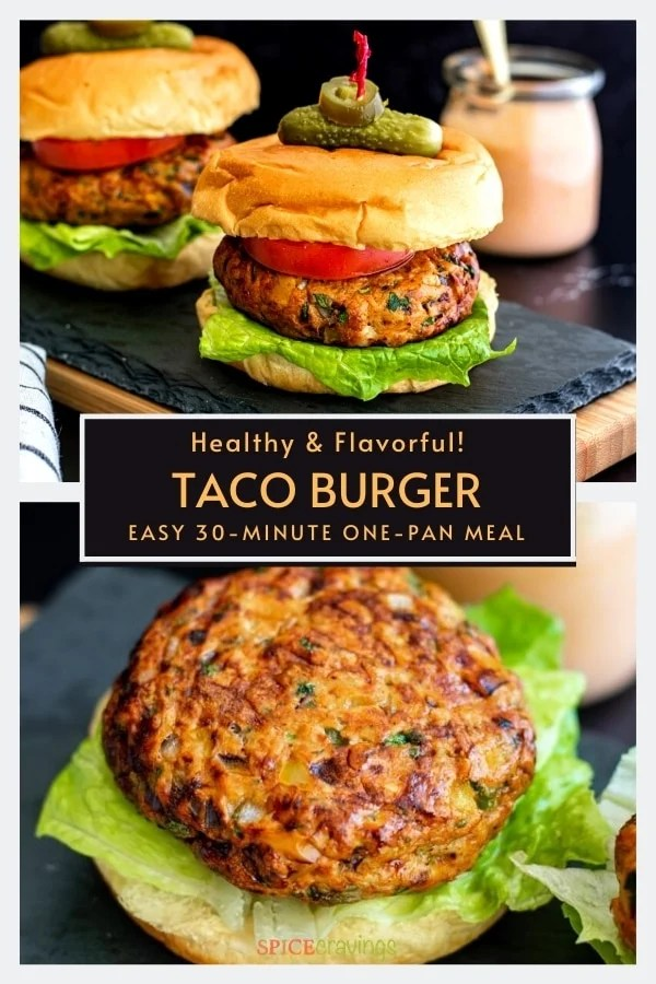 easy taco burger recipe with bun, lettuce, tomato, pickle and exposed taco burger patty on bun