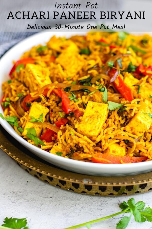 easy paneer biryani recipe in white bowl