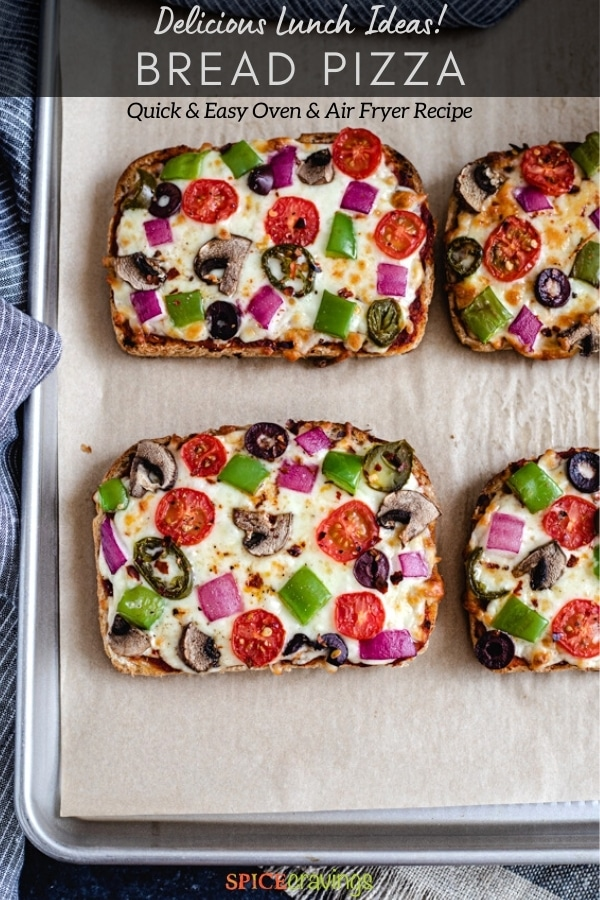 pizza toast recipe with fresh vegetables on parchment-lined baking sheet