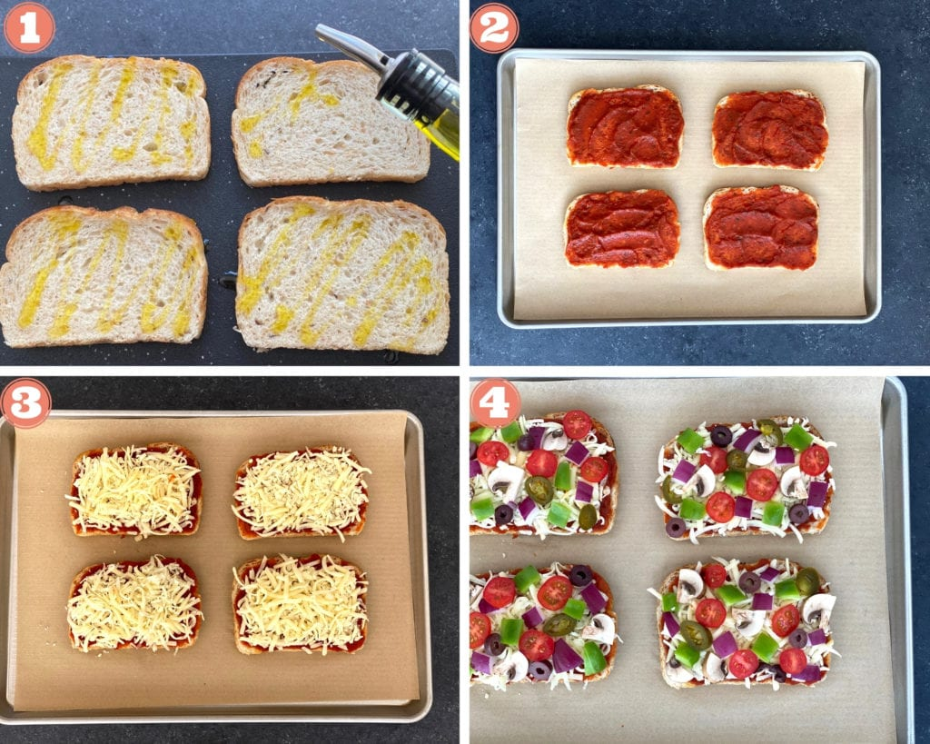 grid shot of assembling pizza toast for the oven