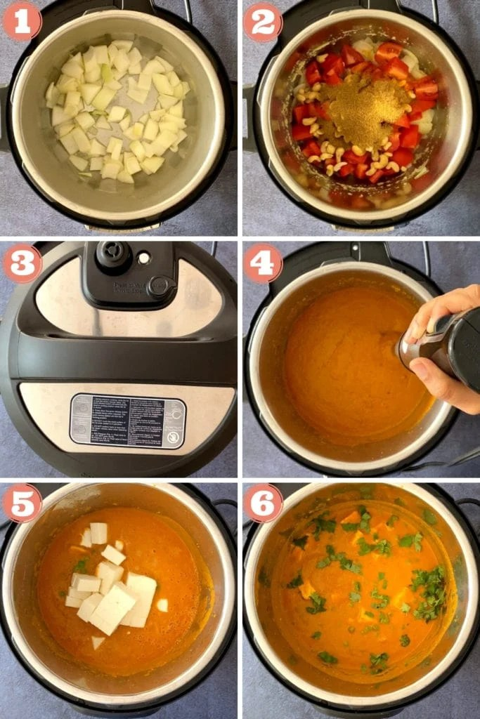 onions sauteing in instant pot, tomatoes, cashews and spices in instant pot, instant pot lid, tomato gravy pureeing with immersion blender, paneer cubes in tomato masala, matar paneer in instant pot