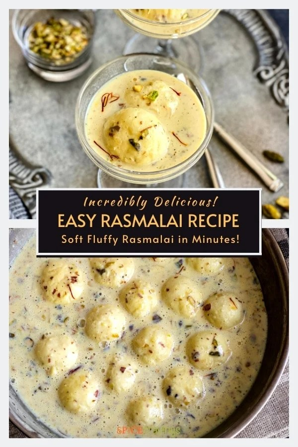 easy rasmalai recipe in glass coupes on silver platter, rasgulla balls in sweet cream with nuts, saffron and cardamom in bowl