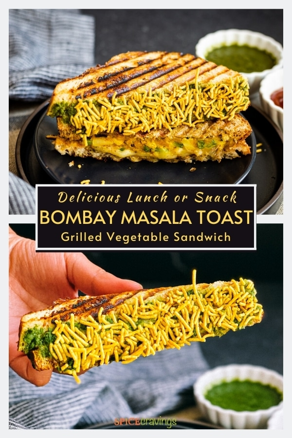 bombay cheese toastie coated in namkeen on black plate and hand holding half of sandwich