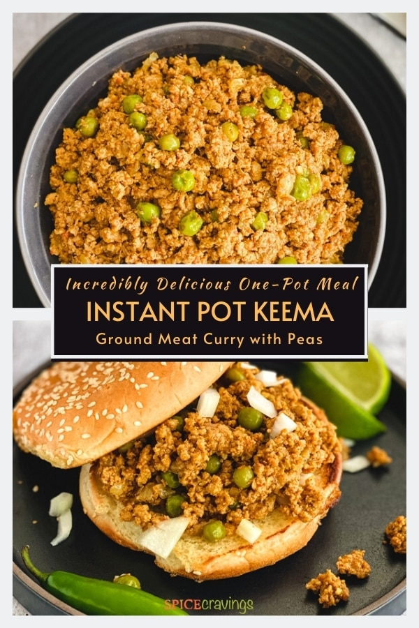 ground meat and peas curry in a bowl on top, served in a bun at the bottom
