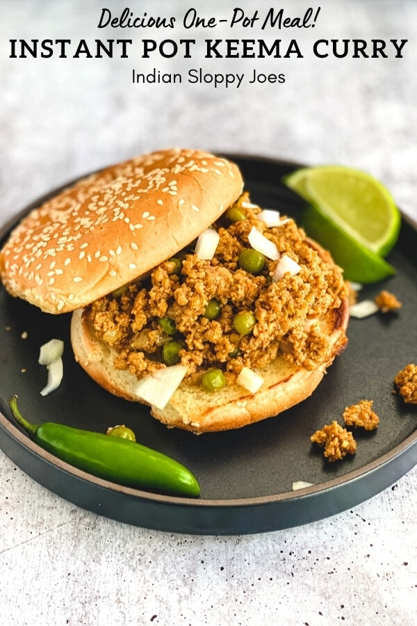 Ground meat and peas curry served on sesame bun