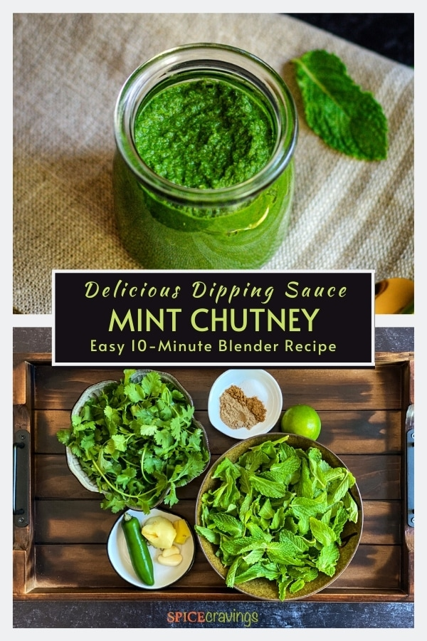 pudina chutney in glass jar with mint leave, fresh cilantro, mint leaves, green chile, ginger, garlic, Indian spices, lime
